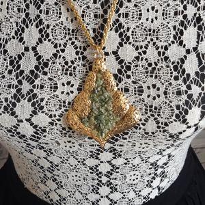 Vintage Gold Tone Jade Necklace